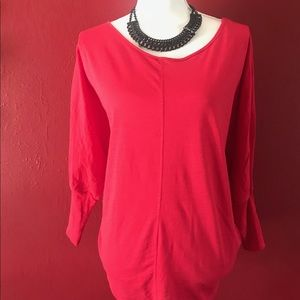 NWT: JCP Red quarter sleeve shirt. Sz. L